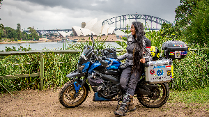 Candida, Solo biker drove from Bangalore to Sydney