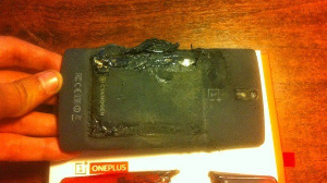 One Plus phone catches fire while switched off